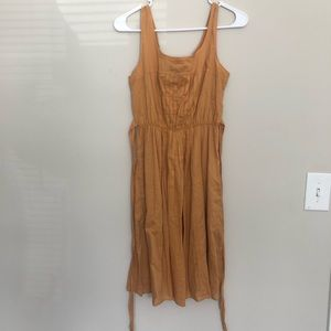 Mossimo Mustard/Brown Pleated Dress W/ Pockets